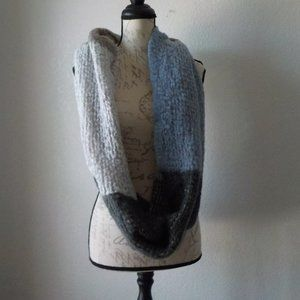 Knit Infinity Scarf Color Block Soft & Cozy Gray